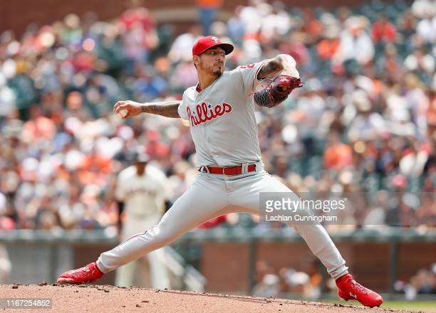 Vince Velasquez of the Philadelphia Phillies pitches in the bottom of the first inning against the San Francisco Giants at Oracle Park on August 10,...