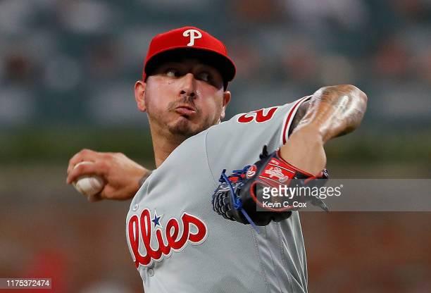 Vince Velasquez of the Philadelphia Phillies pitches in the fourth inning against the Atlanta Braves at SunTrust Park on September 17, 2019 in...