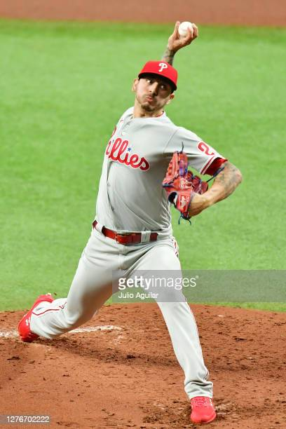 Vince Velasquez of the Philadelphia Phillies pitches to the Tampa Bay Rays during the second inning at Tropicana Field on September 25, 2020 in St...
