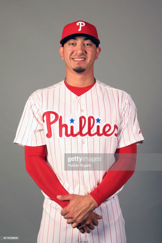 Vince Velasquez #28 of the Philadelphia Phillies poses during Photo Day on Tuesday, February 20, 2018 at Spectrum Field in Clearwater, Florida.