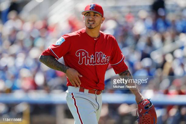Vince Velasquez of the Philadelphia Phillies reacts after being taken out of the game against the Toronto Blue Jays during the Grapefruit League...