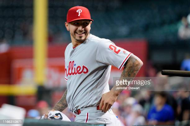 Vince Velasquez of the Philadelphia Phillies smiles prior to the MLB game against the Arizona Diamondbacks at Chase Field on August 05, 2019 in...