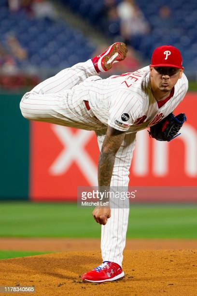Vince Velasquez of the Philadelphia Phillies throws a pitch against the Miami Marlins at Citizens Bank Park on September 27, 2019 in Philadelphia,...