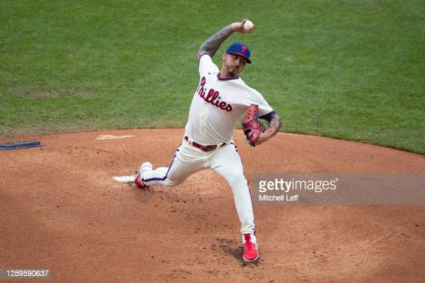 Vince Velasquez of the Philadelphia Phillies throws a pitch against the Miami Marlins at Citizens Bank Park on July 26, 2020 in Philadelphia,...
