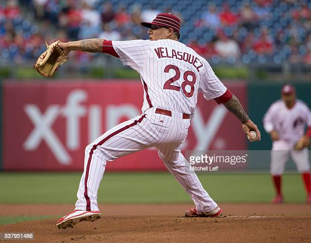 Vince Velasquez of the Philadelphia Phillies throws a pitch against the Milwaukee Brewers in the top of the first inning at Citizens Bank Park on...