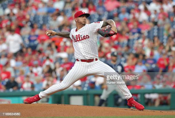 Vince Velasquez of the Philadelphia Phillies throws a pitch during a game against the San Diego Padres at Citizens Bank Park on August 16, 2019 in...