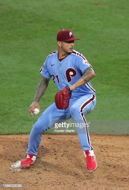 Vince Velasquez of the Philadelphia Phillies throws a pitch during a game against the Baltimore Orioles at Citizens Bank Park on August 13, 2020 in...