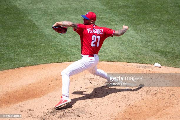 Vince Velasquez of the Philadelphia Phillies throws a pitch during the intrasquad game at Citizens Bank Park on July 9, 2020 in Philadelphia,...