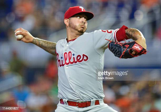 Vince Velasquez of the Philadelphia Phillies throws a pitch in the first inning against the Miami Marlins at Marlins Park on April 14 2019 in Miami...