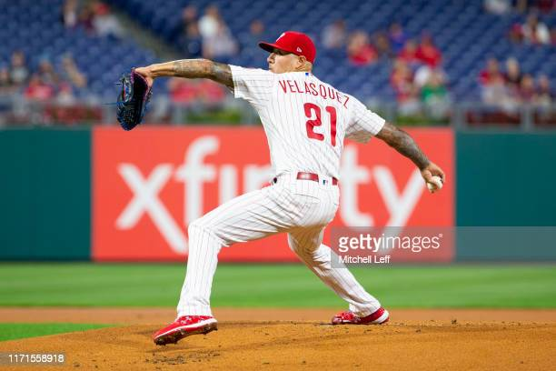 Vince Velasquez of the Philadelphia Phillies throws a pitch in the top of the first inning against the Miami Marlins at Citizens Bank Park on...
