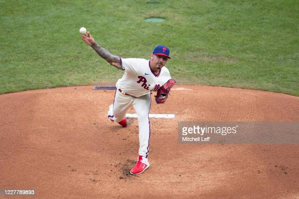 Vince Velasquez of the Philadelphia Phillies throws a pitch in the top of the first inning against the Miami Marlins at Citizens Bank Park on July...