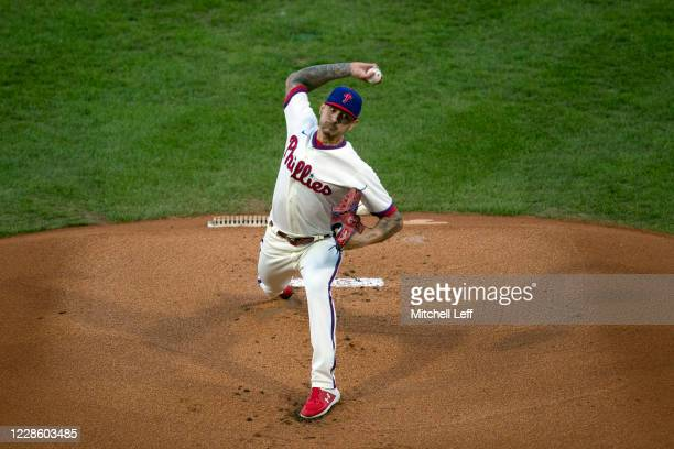Vince Velasquez of the Philadelphia Phillies throws a pitch in the top od the first inning against the Toronto Blue Jays at Citizens Bank Park on...