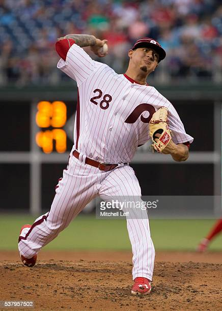 Vince Velasquez of the Philadelphia Phillies throws a pitch in the top of the third inning against the Milwaukee Brewers at Citizens Bank Park on...