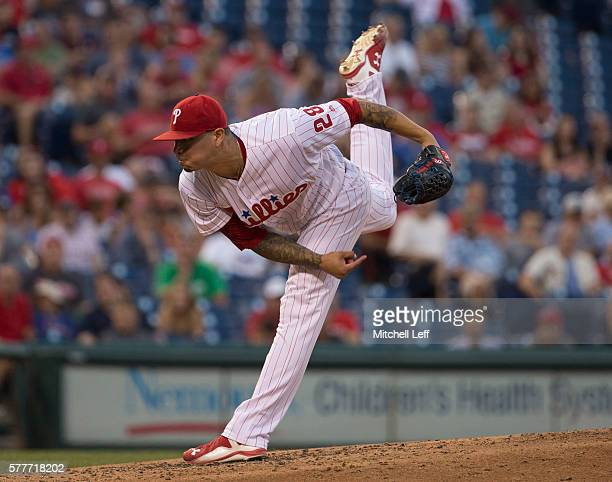 Vince Velasquez of the Philadelphia Phillies throws a pitch in the top of the fourth inning against the Miami Marlins at Citizens Bank Park on July...