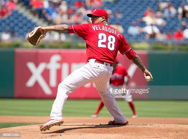 Vince Velasquez of the Philadelphia Phillies throws a pitch in the top of the first inning against the San Francisco Giants at Citizens Bank Park on...