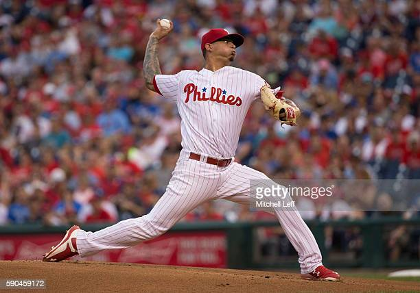 Vince Velasquez of the Philadelphia Phillies throws a pitch in the top of the first inning against the Los Angeles Dodgers at Citizens Bank Park on...