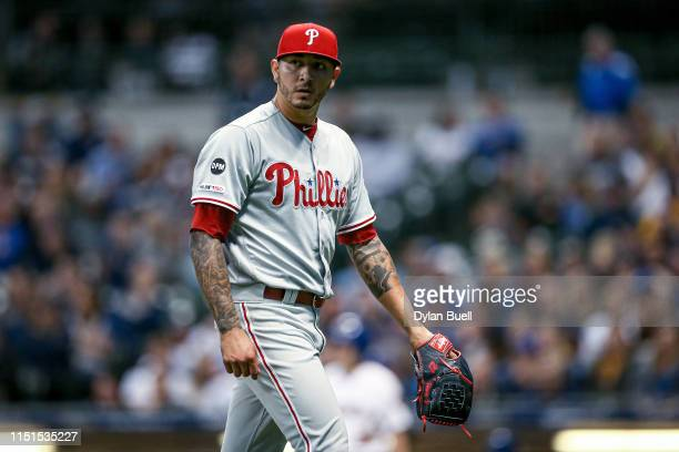 Vince Velasquez of the Philadelphia Phillies walks off the field in the sixth inning against the Milwaukee Brewers at Miller Park on May 24, 2019 in...