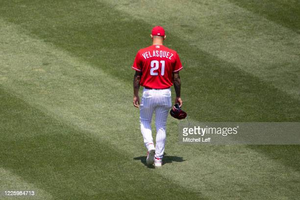 Vince Velasquez of the Philadelphia Phillies walks to the bullpen prior to the intrasquad game at Citizens Bank Park on July 9, 2020 in Philadelphia,...