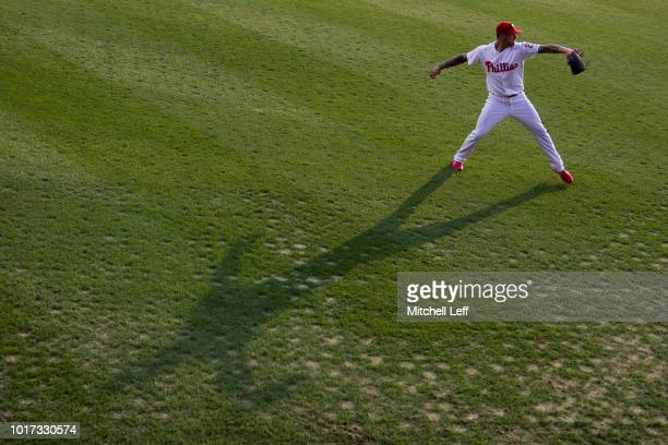 Vince Velasquez of the Philadelphia Phillies warms up prior to the game against the Boston Red Sox at Citizens Bank Park on August 15 2018 in...