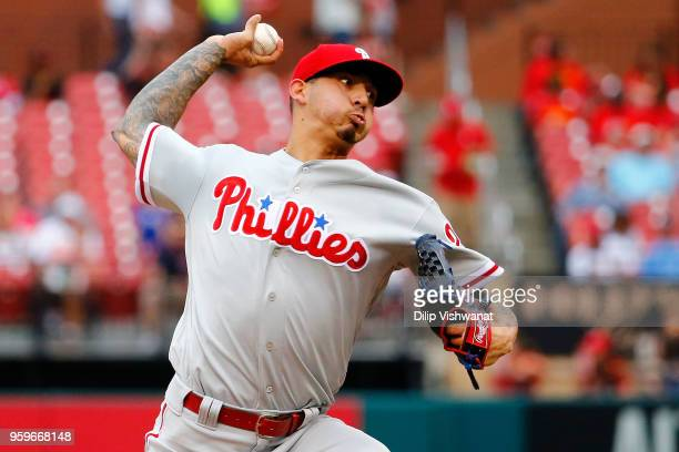Vince Velasquez of the the Philadelphia Phillies delivers a pitch against the St Louis Cardinals in the first inning at Busch Stadium on May 17 2018...