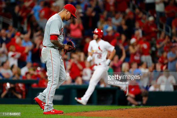 Vince Velasquez of the the Philadelphia Phillies returns to the pitcher's mound after giving up his second home run of the fifth inning against the...