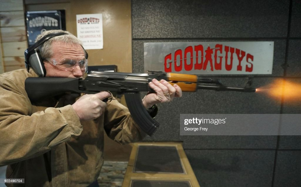 Vince Warner fires an AK-47 with a bump stock installed at Good Guys Gun and Range on February 21, 2018 in Orem, Utah. The bump stock is a device when installed allows a semi-automatic to fire at a rapid rate much like a fully automatic gun.