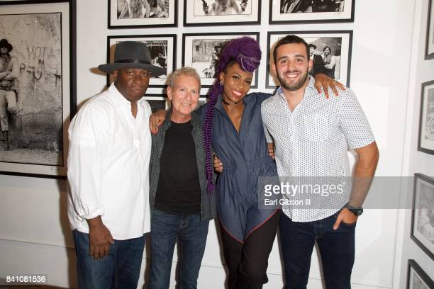 Vince Wilburn Jr Sam Milgrom Nik West and Nick Kandelaki attend the VIP Reception for Chris Cuffaro's New Exhibit Greatest Hits' Martini Ranch at Mr...