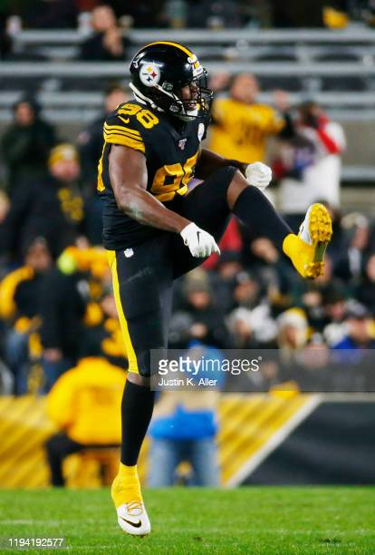 Vince Williams of the Pittsburgh Steelers celebrates a first quarter sack against the Buffalo Bills in the game at Heinz Field on December 15, 2019...