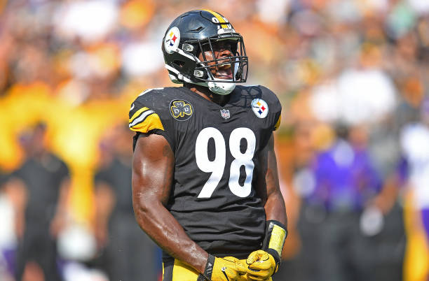 Vince Williams  98 of the Pittsburgh Steelers reacts after a defensive stop  in the second 5117790a3