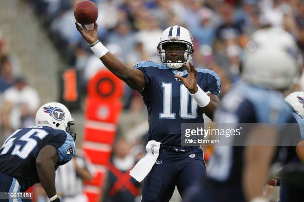 QB Vince Young of the Tennessee Titans during a game against the New York Giants at LP Field in Nashville Tennessee on November 26 2006