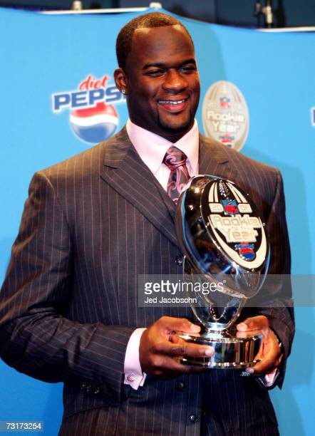 Vince Young of the Tennessee Titans smiles after winning the Diet Pepsi Rookie of the Year at a press conference at the Miami Beach Convention Center...