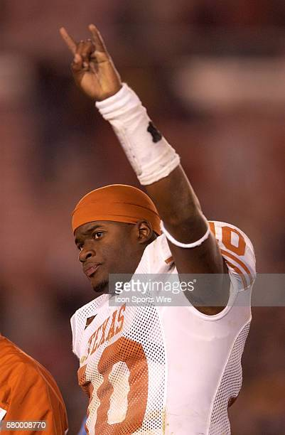 Vince Young of the Texas Longhorns celebrates after the Horns 3837 victory over the Michigan Wolverines in the 2005 Rose Bowl at the Rose Bowl in...