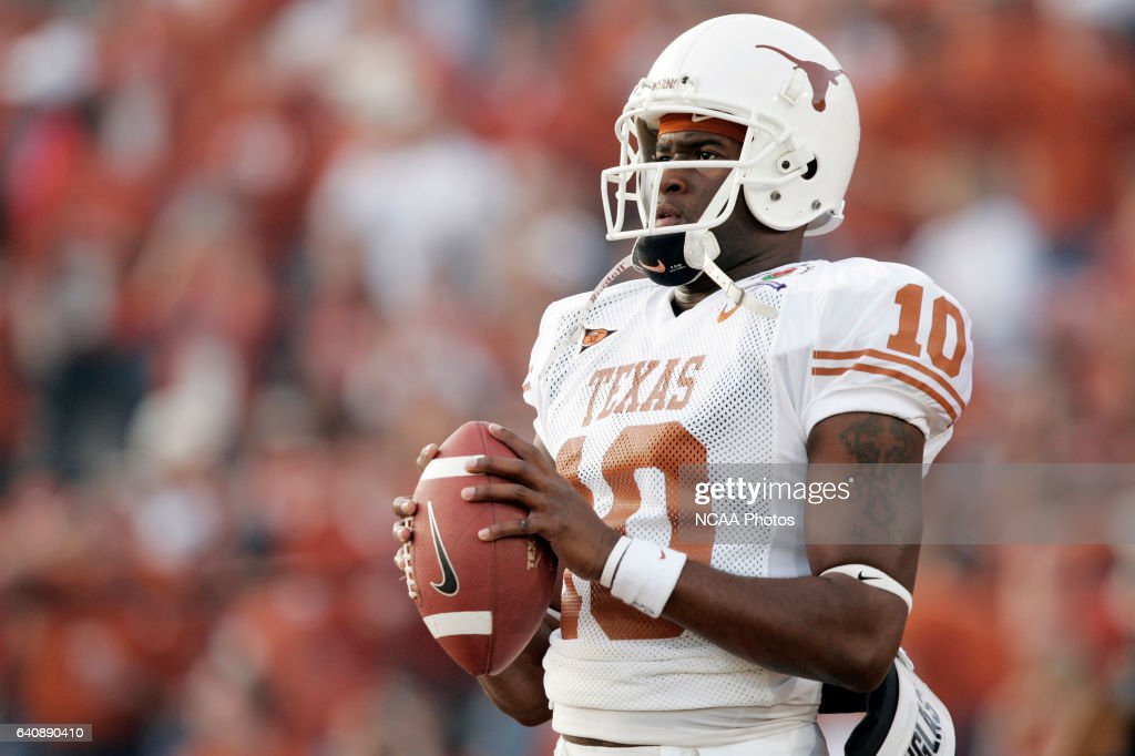 Vince Young (10) of the University of Texas against the University of Southern California during the BCS National Championship Game at the Rose Bowl in Pasadena, CA. Texas defeated USC 41-38 for the national title. Jamie Schwaberow/NCAA Photos via Getty Images