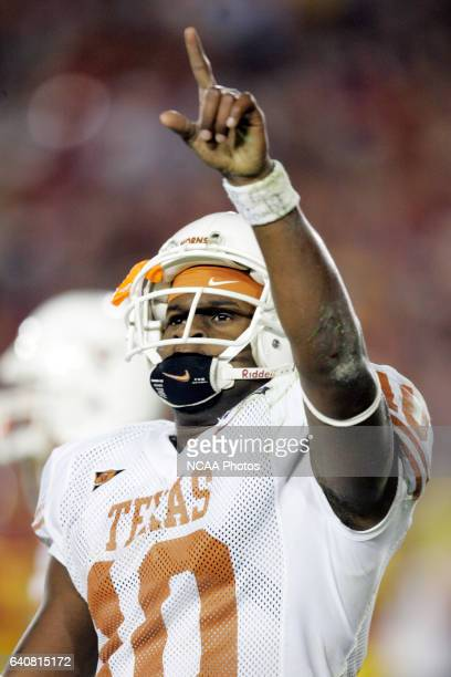 Vince Young of the University of Texas celebrates his game winning touchdown against the University of Southern California during the BCS National...