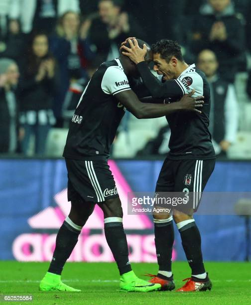 Vincent Aboubakar and Adriano of Besiktas celebrate after scoring a goal during the Turkish Spor Toto Super Lig football match between Besiktas and...