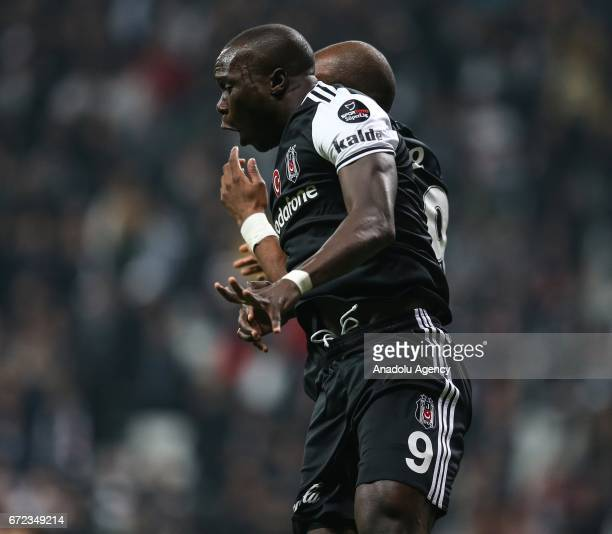 Vincent Aboubakar of Besiktas celebrates after scoring a goal during the Turkish Spor Toto Super Lig football match between Besiktas and Adanaspor at...