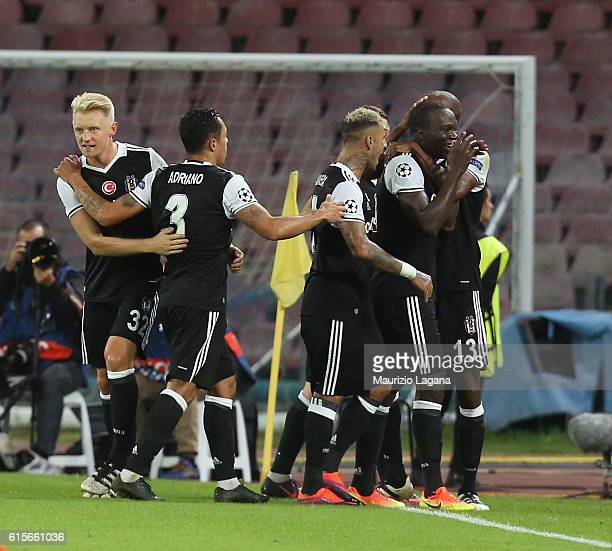 Vincent Aboubakar of Besiktas celebrates after scoring his team's second goal during the UEFA Champions League match between SSC Napoli and Besiktas...