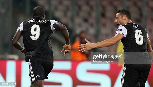 Vincent Aboubakar of Besiktas celebrates after scoring his team's third goal during the UEFA Champions League match between SSC Napoli and Besiktas...