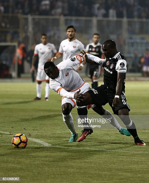 Vincent Aboubakar of Besiktas in action against his rival during the Turkish Spor Toto Super Lig match between Adanaspor and Besiktas at Adana 5 Ocak...
