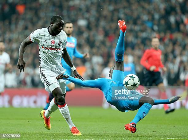 Vincent Aboubakar of Besiktas in action against Kalidou Koulibaly of Napoli during the UEFA Champions League football match between Besiktas and...