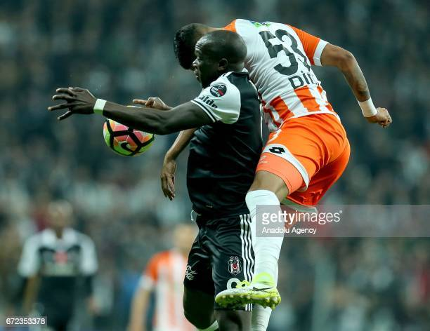 Vincent Aboubakar of Besiktas in action against Vinicius Jose Ignacio of Adanaspor during the Turkish Spor Toto Super Lig football match between...