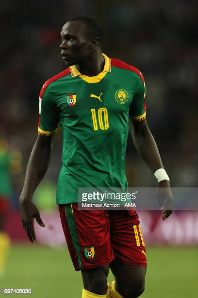 Vincent Aboubakar of Cameroon in action during the FIFA Confederations Cup Russia 2017 Group B match between Cameroon and Chile at Spartak Stadium on...