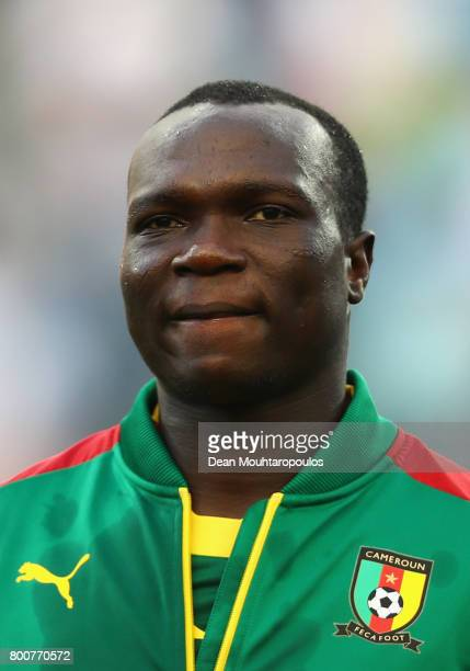 Vincent Aboubakar of Cameroon lines up prior to the FIFA Confederations Cup Russia 2017 Group B match between Germany and Cameroon at Fisht Olympic...