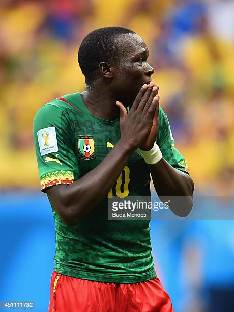 Vincent Aboubakar of Cameroon reacts during the 2014 FIFA World Cup Brazil Group A match between Cameroon and Brazil at Estadio Nacional on June 23...