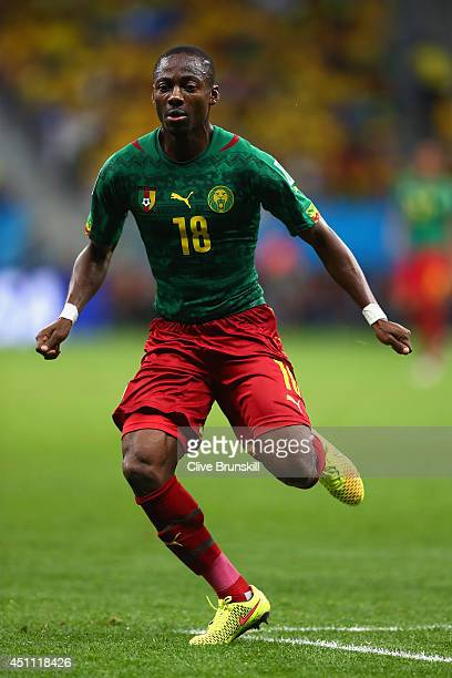 Vincent Aboubakar of Cameroon runs on during the 2014 FIFA World Cup Brazil Group A match between Cameroon and Brazil at Estadio Nacional on June 23...