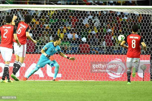 Vincent Aboubakar of Cameroon scores to make 21 during the African Nations Cup Final match between Cameroon and Egypt at Stade de L'Amitie on...