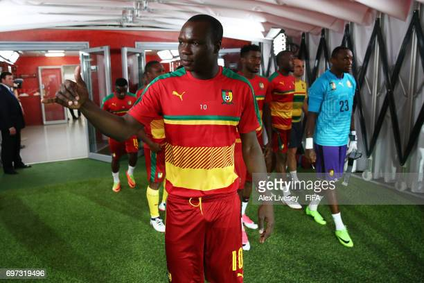 Vincent Aboubakar of Cameroon walks out to warm up prior to the FIFA Confederations Cup Russia 2017 Group B match between Cameroon and Chile at...