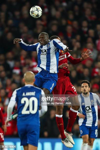 Vincent Aboubakar of FC Porto and Joel Matip of Liverpool during the UEFA Champions League Round of 16 Second Leg match between Liverpool and FC...