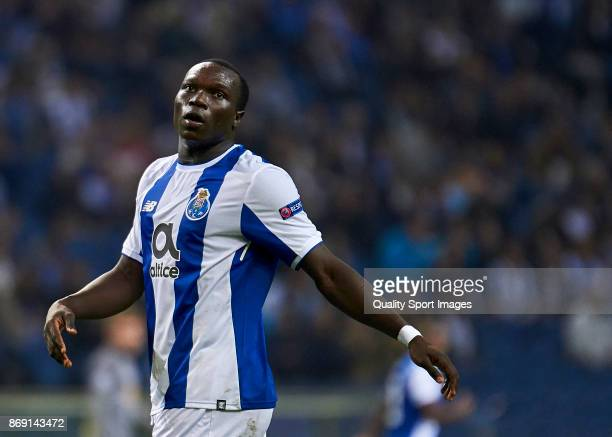 Vincent Aboubakar of FC Porto reacts during the UEFA Champions League group G match between FC Porto and RB Leipzig at Estadio do Dragao on November...