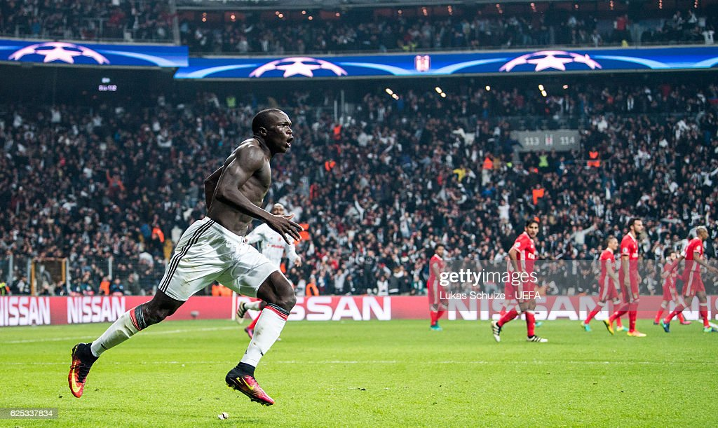 Vincent Aboubakar of Istanbul celebrates his teams third goal during the UEFA Champions League match between Besiktas JK and SL Benfica at Vodafone Arena on November 23, 2016 in Istanbul.